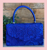 Lace Covered Envelope Tote Bag with Single Top Handle and Detachable Shoulder Chain - Royal Blue