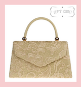 Lace Covered Envelope Tote Bag with Single Top Handle and Detachable Shoulder Chain - Gold