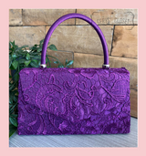 Lace Covered Envelope Tote Bag with Single Top Handle and Detachable Shoulder Chain - Purple