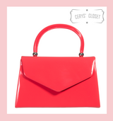 Patent Envelope Tote Bag with Single Top Handle and Detachable Shoulder Chain - Hot Pink