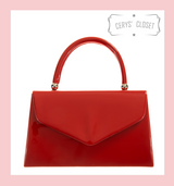 Patent Envelope Tote Bag with Single Top Handle and Detachable Shoulder Chain - Red