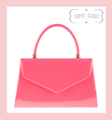 Patent Envelope Tote Bag with Single Top Handle and Detachable Shoulder Chain - Coral