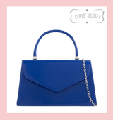 Patent Envelope Tote Bag with Single Top Handle and Detachable Shoulder Chain - Royal Blue