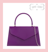 Patent Envelope Tote Bag with Single Top Handle and Detachable Shoulder Chain - Purple
