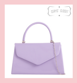 Patent Envelope Tote Bag with Single Top Handle and Detachable Shoulder Chain - Lilac