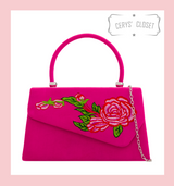 Suede Effect Envelope Tote Bag with Embroidered Rose, Top Handle and Detachable Shoulder Chain - Hot Pink