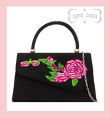 Suede Effect Envelope Tote Bag with Embroidered Rose, Top Handle and Detachable Shoulder Chain - Black