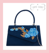 Suede Effect Envelope Tote Bag with Embroidered Rose, Top Handle and Detachable Shoulder Chain - Navy