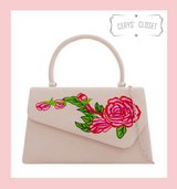 Suede Effect Envelope Tote Bag with Embroidered Rose, Top Handle and Detachable Shoulder Chain - Nude