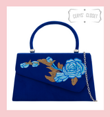 Suede Effect Envelope Tote Bag with Embroidered Rose, Top Handle and Detachable Shoulder Chain - Blue