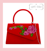 Suede Effect Envelope Tote Bag with Embroidered Rose, Top Handle and Detachable Shoulder Chain - Red