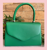 Leatherette Effect Envelope Tote Bag with Top Handle and Detachable Shoulder Chain - Green