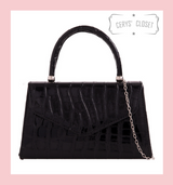 Crocodile Effect Envelope Tote Bag with Top Handle and Detachable Shoulder Chain - Black