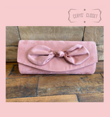 Suede Effect Bow Clutch Bag with Detachable Shoulder Chain - Pink