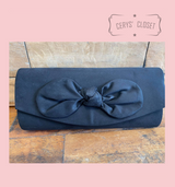 Suede Effect Bow Clutch Bag with Detachable Shoulder Chain - Navy