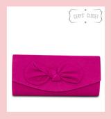 Suede Effect Bow Clutch Bag with Detachable Shoulder Chain - Cerise