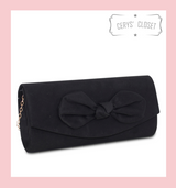 Suede Effect Bow Clutch Bag with Detachable Shoulder Chain - Black