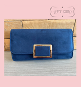 Suede Effect Clutch Bag With Gold Buckle Detail and Detachable Shoulder Chain - Navy