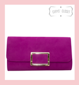 Suede Effect Clutch Bag With Gold Buckle Detail and Detachable Shoulder Chain - Cerise