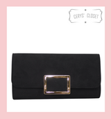 Suede Effect Clutch Bag With Gold Buckle Detail and Detachable Shoulder Chain - Black