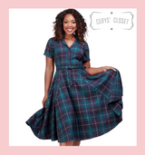 Collectif Caterina 50s Vintage Inspired Mermaid Check Purple and Green Check Shirt Dress