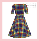 Collectif Suzanne Rainbow Check Swing Dress with 3/4 Sleeves and Matching Belt