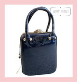 40s and 50s Vintage Inspired Rockabilly Pinup Reproduction Patent Box Handbag in Navy - Jackie
