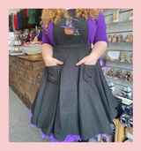PUMPKIN SPICE & ALL THINGS NICE FLARED BLACK PINAFORE DRESS WITH EMBROIDERED PUMPKIN AND WITCHES HAT