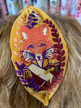 Hand Finished Velvet Embroidered Mustard Autumn Fox Hairband by Powder