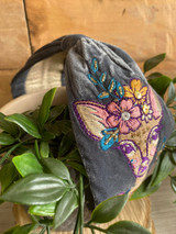 Hand Finished Velvet Embroidered Blue Grey Autumn Doe Hairband by Powder