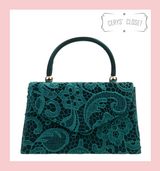 Lace Covered Envelope Tote Bag with Single Top Handle and Detachable Shoulder Chain - Dark Green