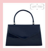 Patent Envelope Tote Bag with Single Top Handle and Detachable Shoulder Chain  - Navy