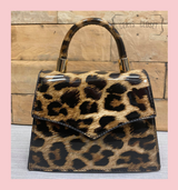Patent Leopard Print Envelope Tote Bag With Single Top Handle And Detachable Shoulder Chain