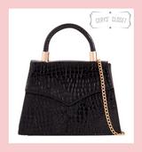 Patent Faux Croc Patent Envelope Tote Bag With Single Top Handle And Detachable Shoulder Chain