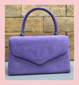 Suede Effect Envelope Tote Bag with Single Top Handle and Detachable Shoulder Chain - Lilac