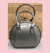 40S AND 50S CLASSIC PINUP ROCKABILLY VINTAGE INSPIRED PATENT ROUND HANDBAG  WITH 2 TOP HANDLES AND A DETACHABLE SHOULDER STRAP - Silver