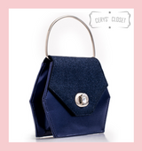 Hexagonal Glitter Handbag with Jewelled Clasp and Metal Ring Handle and Detachable Shoulder Strap - Navy