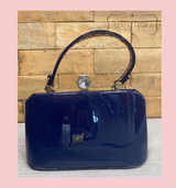 40S AND 50S CLASSIC PINUP ROCKABILLY VINTAGE INSPIRED PATENT HANDBAG WITH TOP HANDLES AND A DETACHABLE SHOULDER STRAP - Navy