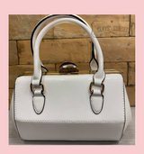 40S AND 50S CLASSIC PINUP ROCKABILLY VINTAGE INSPIRED SHINY PATENT Classic STYLE HANDBAG - WHITE