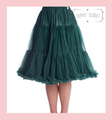"""50s Vintage Supersoft Rock n Roll Rockabilly Petticoat Skirt 26"""" With Petticoat Bag Forest Green"""