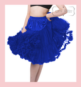 """50s Vintage Supersoft Rock n Roll Rockabilly Petticoat Skirt 26"""" With Petticoat Bag Royal Blue"""