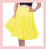 """50s Vintage Supersoft Rock n Roll Rockabilly Petticoat Skirt 26"""" With Petticoat Bag Yellow"""