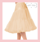 """50s Vintage Supersoft Rock n Roll Rockabilly Petticoat Skirt 26"""" With Petticoat Bag Champagne"""