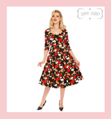 Red Roses, Orange and White Poppy Floral 50s Inspired Swing Dress With 3/4 Sleeves and Sweetheart Neckline