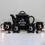 Witches Brew Ceramic Cauldron Tea Set with 4 Mugs and Teapot