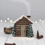 Adorable Winter Log Cabin Incense Cone Burner Ornament