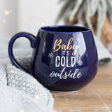 Baby It's Cold Outside Navy Mug with Gold Detail
