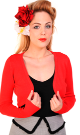 50s Vintage Inspired Long Sleeve Soft Touch Bolero - Red