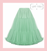 """50s Vintage Supersoft Rock n Roll Rockabilly Petticoat Skirt 26"""" With Petticoat Bag Mint Green"""