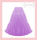 """50s Vintage Supersoft Rock n Roll Rockabilly Petticoat Skirt 26"""" With Petticoat Bag  Lilac"""